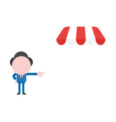 Businessman character pointing shop store awning vector