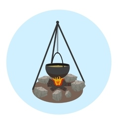Campfire with pot icon Outdoor food preparing vector