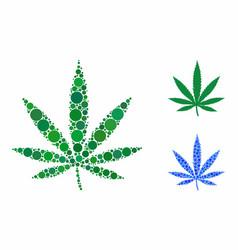 Cannabis leaf composition icon spheric items vector
