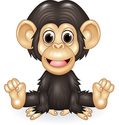 Cartoon funny baby chimpanzee sitting isolated vector