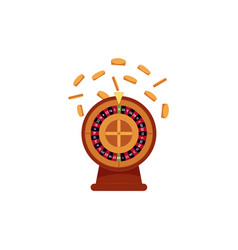 Casino roulette game and golden coins falling down vector