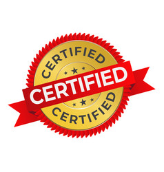 Certification seal or certified stamp label flat vector