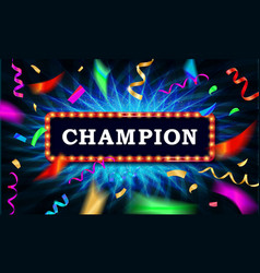 Champion congratulations frame vector