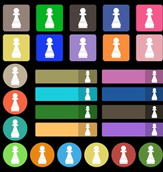 Chess Pawn icon sign Set from twenty seven vector image