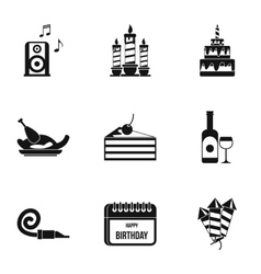 Children party icons set simple style vector