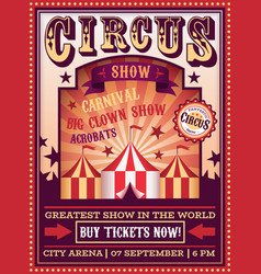 circus poster traveling with tent carnival vector image