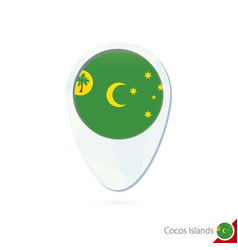 Cocos islands flag location map pin icon on white vector