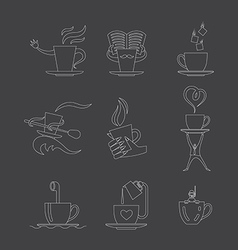 coffee tea icon set vector image