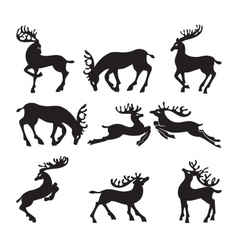 Collection of silhouettes of deer in different vector image
