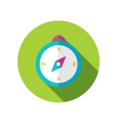 Compass flat icon with long shadow vector image