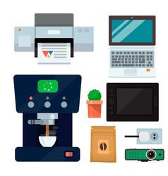 Computer office equipment technic gadgets modern vector