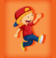 Cute boy wearing red cap with stranglehold in vector