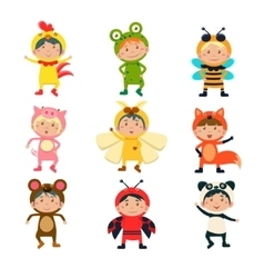Cute Kids Wearing Animal Costumes vector image