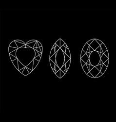 diamond set gems drawing line crystal vector image