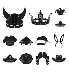 Different kinds of hats black icons in set vector