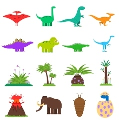Dinosaurs flat set vector