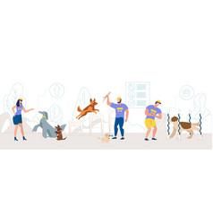 Dogs training school instructors concept vector