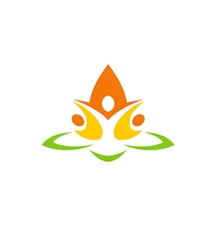 eco people flower abstract yoga logo vector image