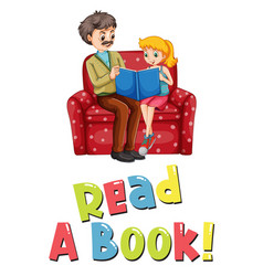 Father and daughter reading book vector