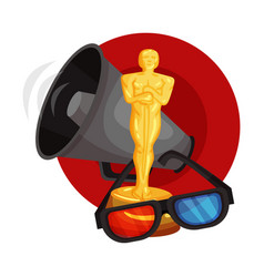 Figurine oscar 3d glasses and a shout in a red vector