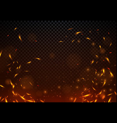 fire sparks on transparent background vector image