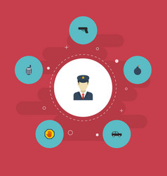 Flat icons policeman gun walkie-talkie and other vector