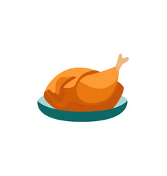 Flat prepared turkey or chicken carcass vector