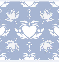 Floral heart in faded denim vector