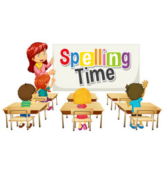 font design for word spelling time with teacher vector image