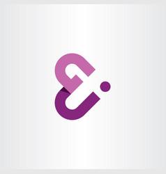 g and j letter gj logo icon purple symbol vector image