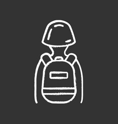 game soldier with tactical backpack chalk icon vector image