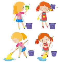 Girl doing different kind of chores vector