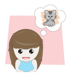 Girl is thinking about cute kitten vector