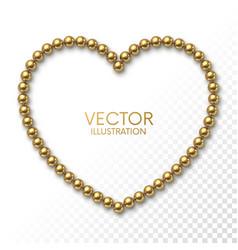 golden balls in form heart frame on white vector image