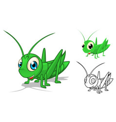 Grasshopper Cartoon Character vector