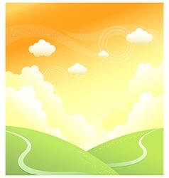 Green mountain sky vector