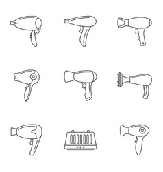 hair dryer icon set outline style vector image