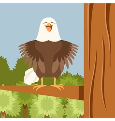 happy eagle on tree flat background vector image