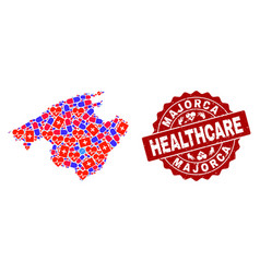 Healthcare composition of mosaic map of majorca vector