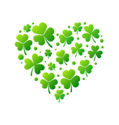heart made of bright green shamrocks vector image