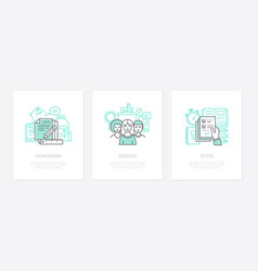 Homework assignment task concept icons set vector