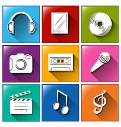 Icons with entertainment gadgets vector