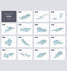 Isometric maps set - asia continent maps asian vector