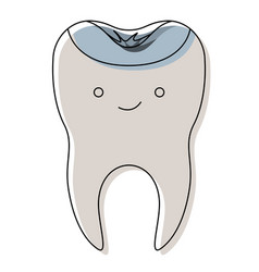 Kawaii restored tooth with root in watercolor vector