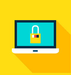 laptop security flat icon vector image