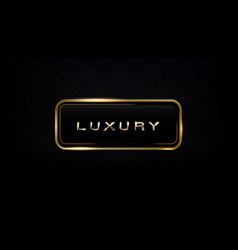 Luxury glass and gold frame dark label template vector