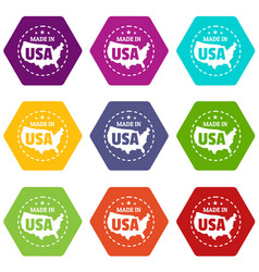 made in usa country icons set 9 vector image