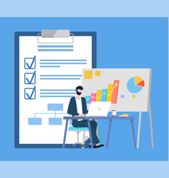 Man working with laptop board and paper vector