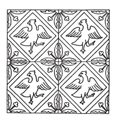 Medieval tile pattern have four birds and leaves vector