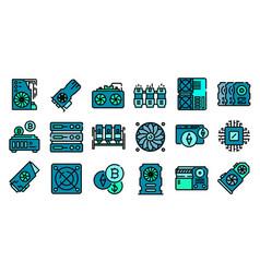 Mining farm icons flat vector